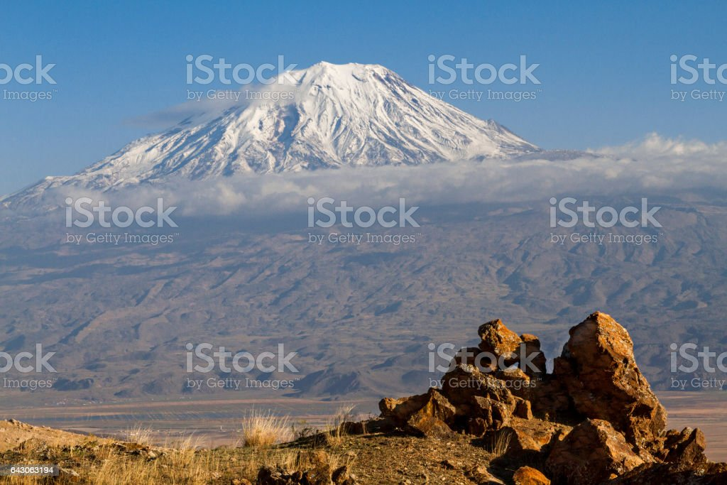View over the Mount Ararat in the Eastern Turkey stock photo