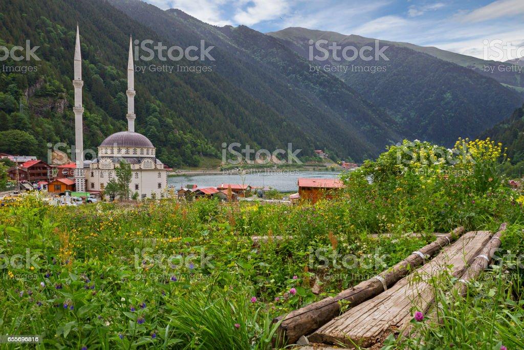 View over the mountain village of Uzungol, Trabzon, Turkey stock photo