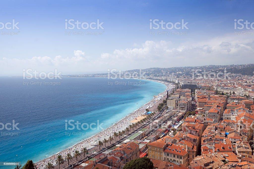 View over the Nice Coastline. stock photo
