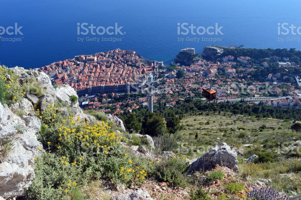 View over the old and famous Dubrovnik stock photo