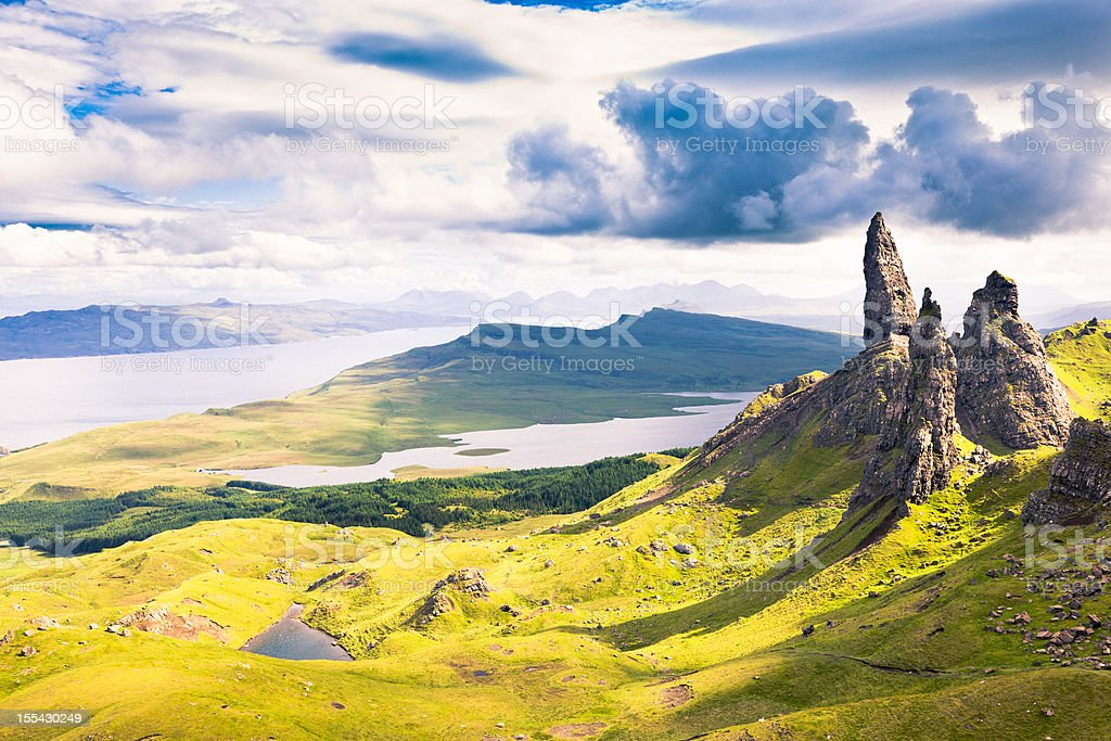 View over the Old Man of Storr stock photo