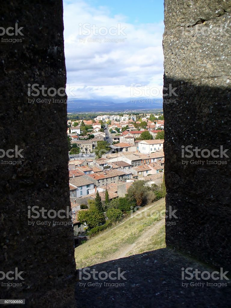 View over the old town of Carcassonne, France. stock photo