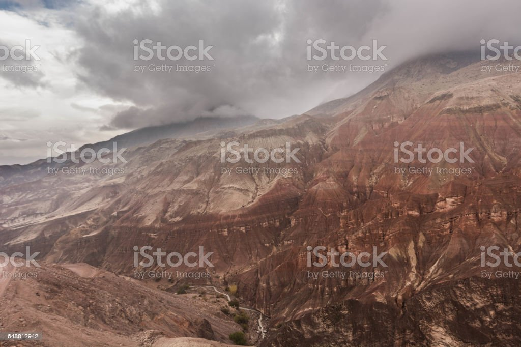 View over the Peruvian Moquegua region Canyon, covered in volcanic ash. stock photo