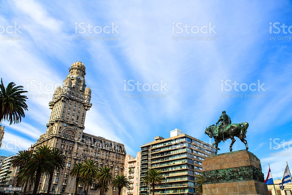 View over the Plaza Independencia in Montevideo stock photo