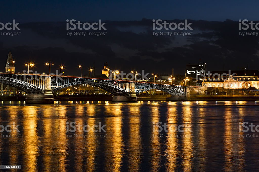 'View over the river at dusk, Mainz - Germany' stock photo