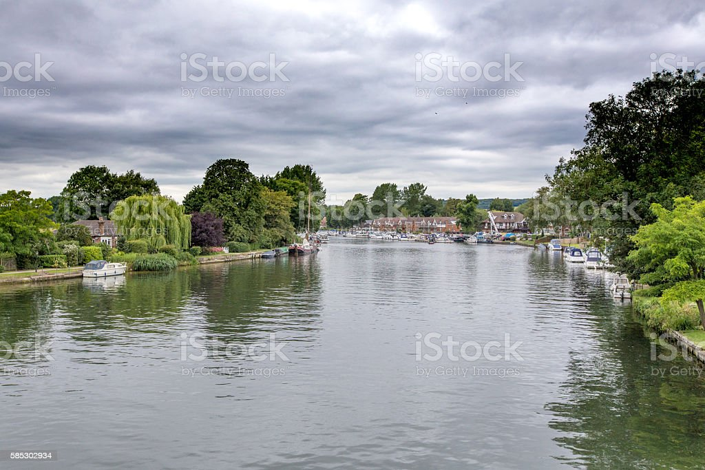 View over the river Thames towards a marina near Cookham stock photo
