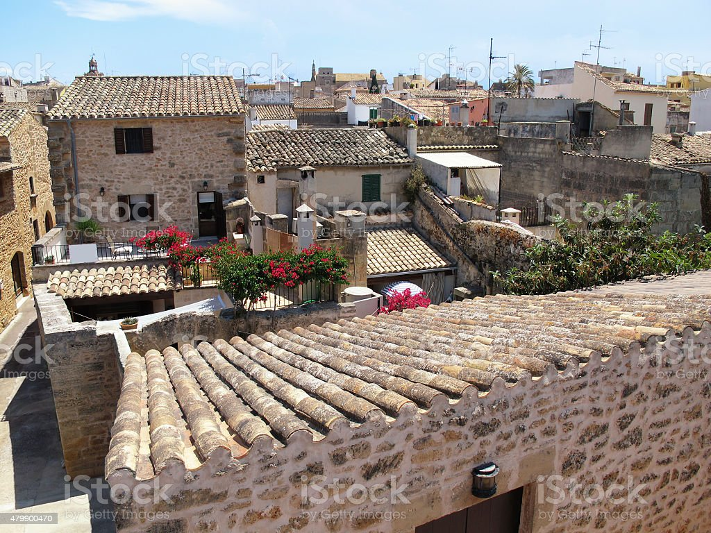 View over the roofs of Alcudia (Mallorca, Spain) stock photo