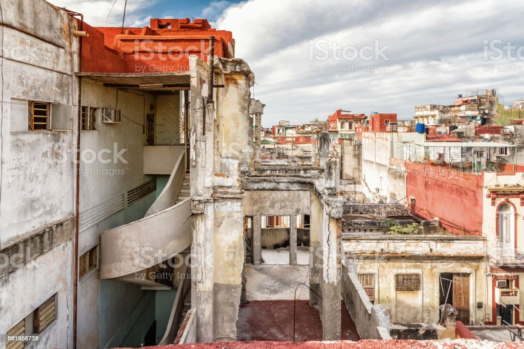 view over the roofs of central havanna stock photo