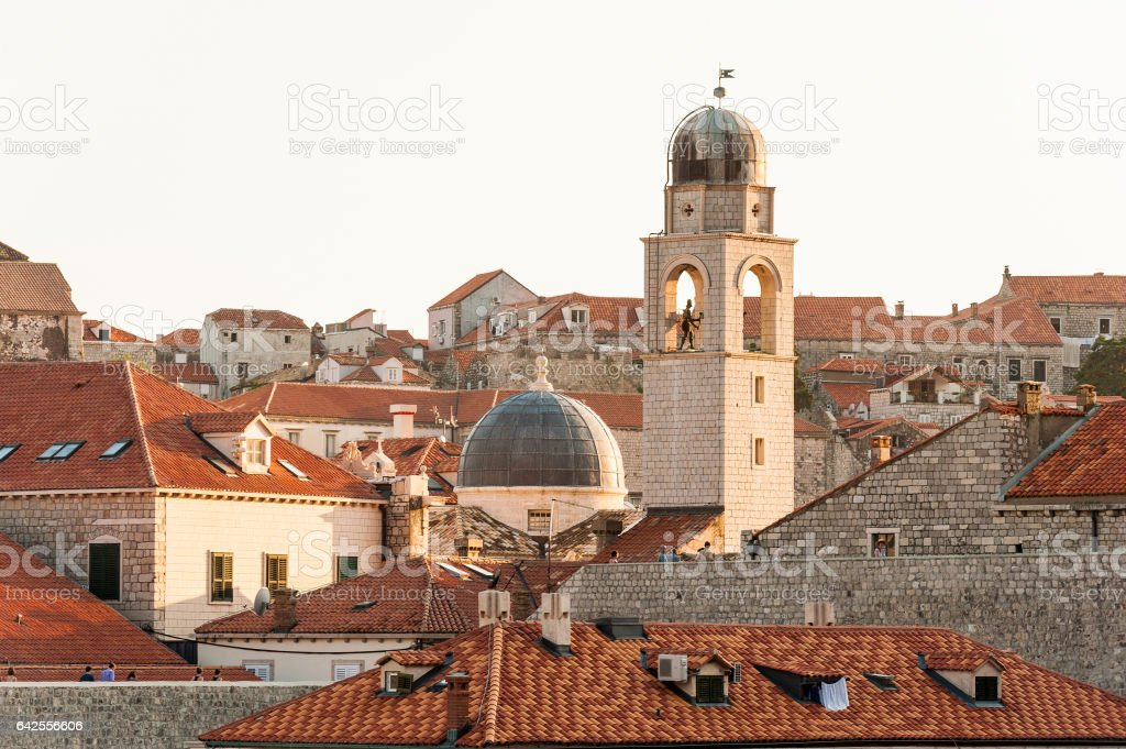 View over the rooftops in old town of Dubrovnik stock photo