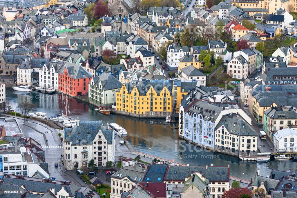 View over the rooftops of Alesund in Norway stock photo