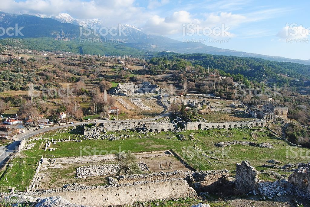 View over the ruins of Tlos in Turkey. stock photo