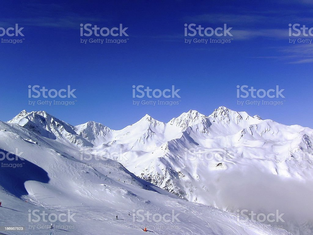 View over the skiing area Serfaus stock photo