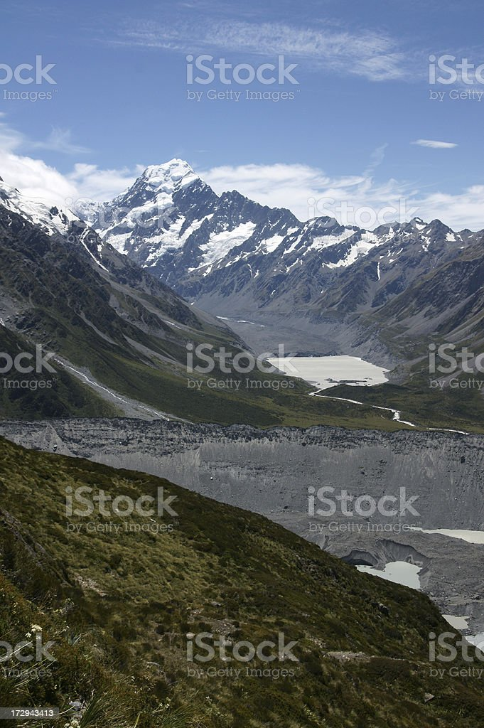 View over the Southern Alps with Mount Cook. royalty-free stock photo