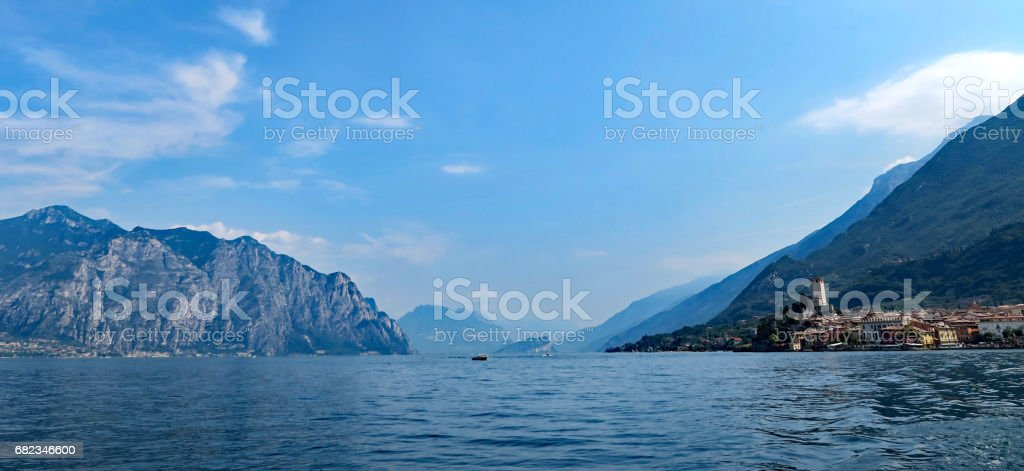 View over the town Malcesine and Lake Garda stock photo