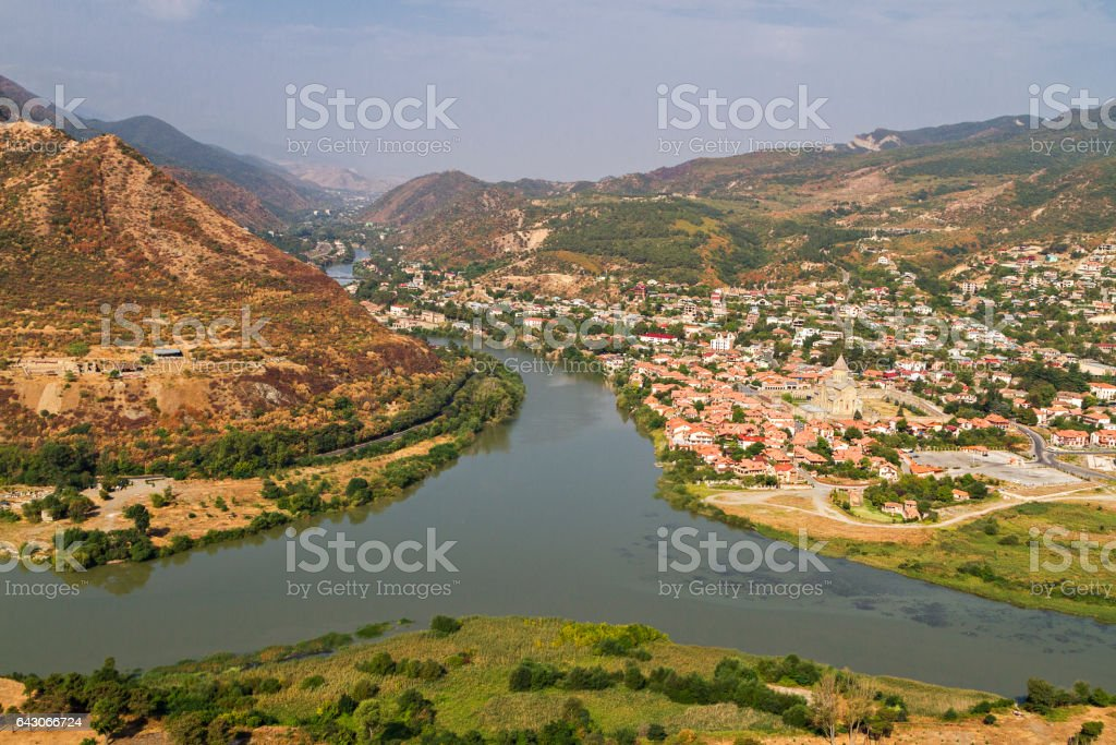 View over the town of Mtskheta where the rivers Kura and Aragvi get together, Georgia, Caucasus. stock photo