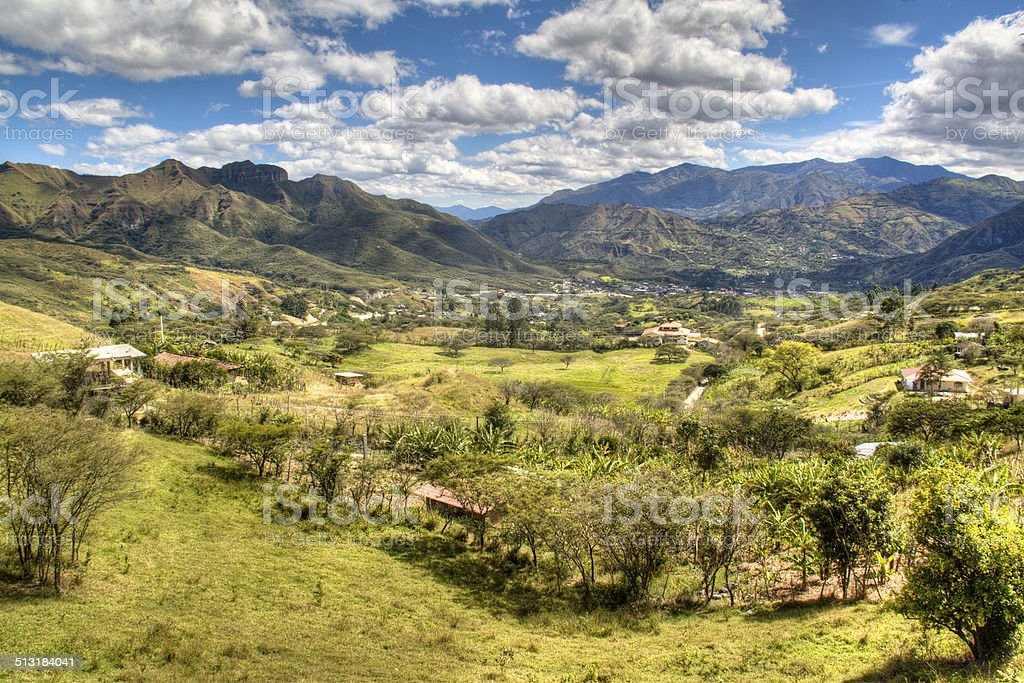 View over the valley of Vilcabamba stock photo