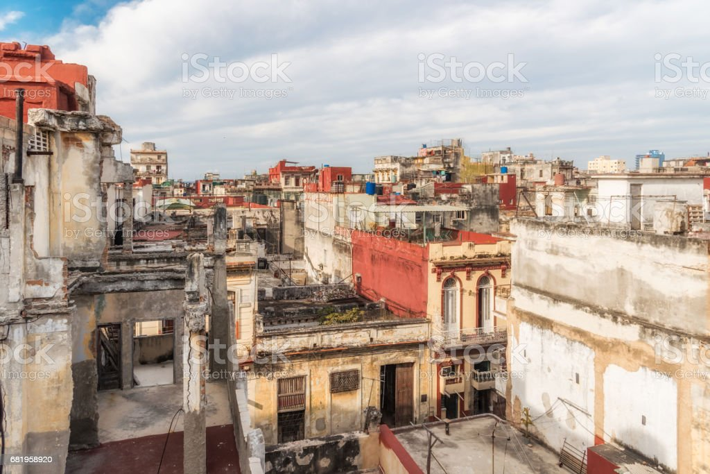 view over the weathered roofs of central havanna stock photo