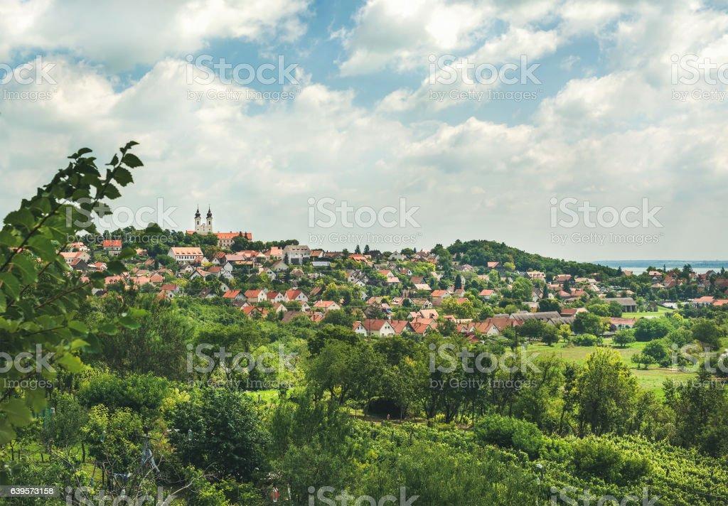 View over Tihany abbey and town on lake Balaton, Hungary stock photo