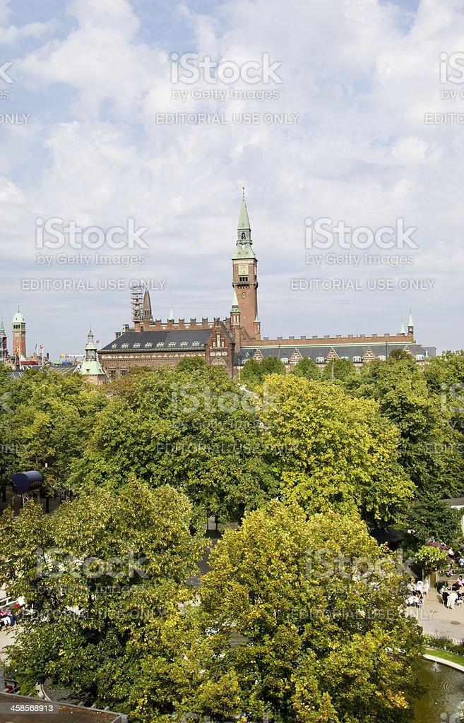 View Over Tivoli Gardens Towards Copenhagen City Hall stock photo