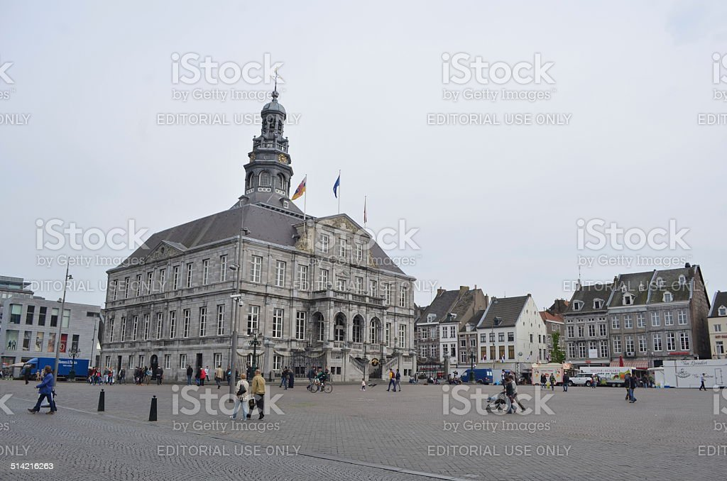 View over town hall on markt in Maastricht. stock photo