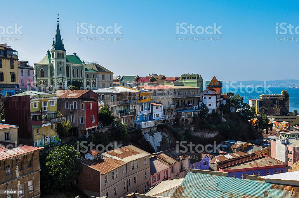 View over Valparaiso, in Chile stock photo