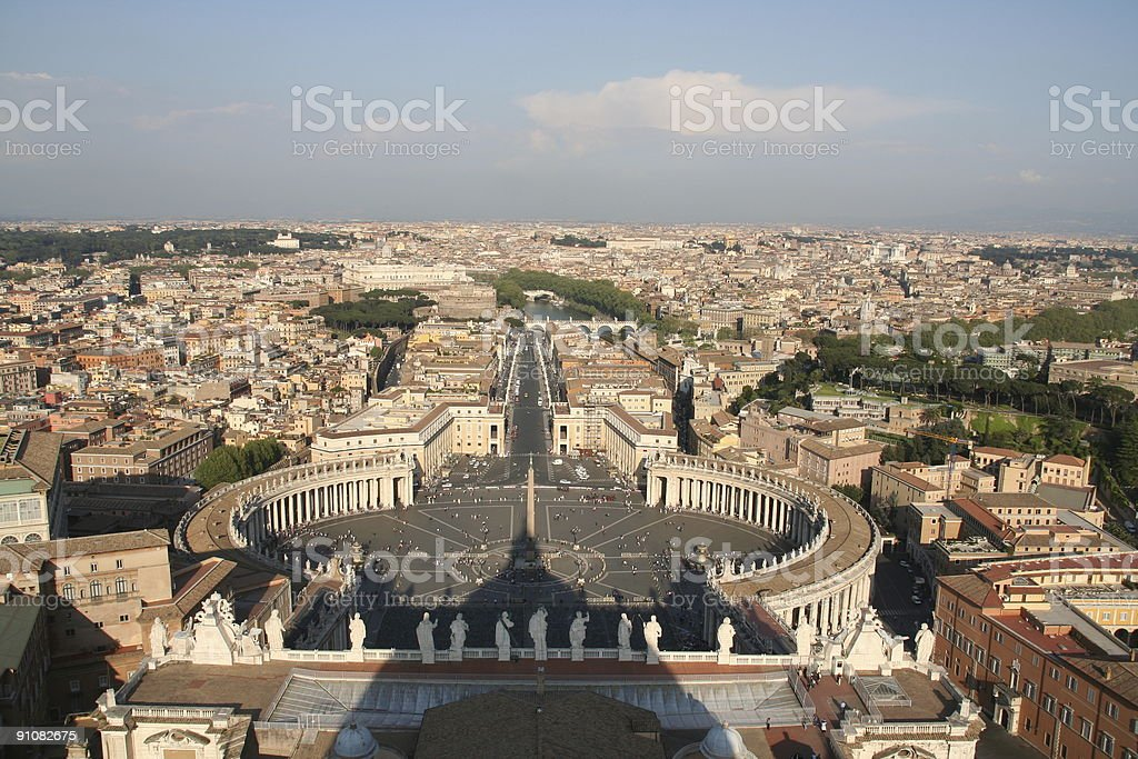 View over Vatican City from St. Pieter-Cathedral stock photo