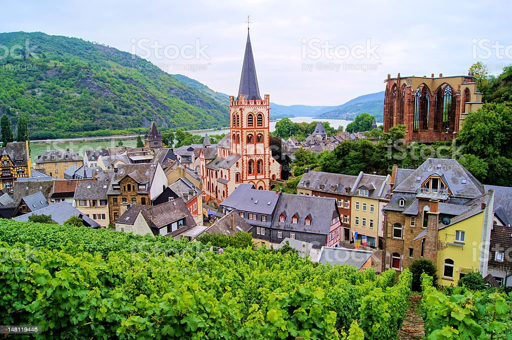 View over village of Bacharach, Rhine River, Germany stock photo