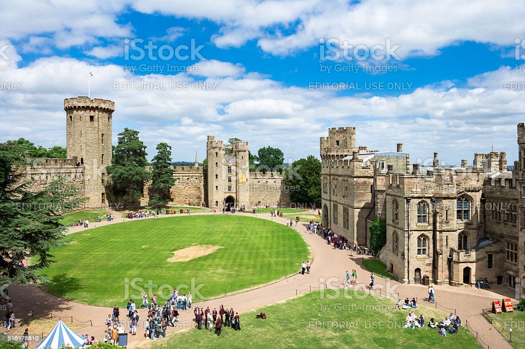 View over Warwick Castle, England stock photo