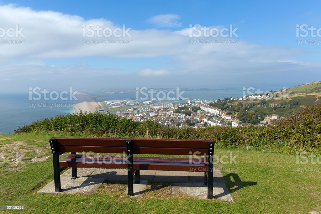 View over Weymouth Portland and Chesil beach Dorset England UK stock photo