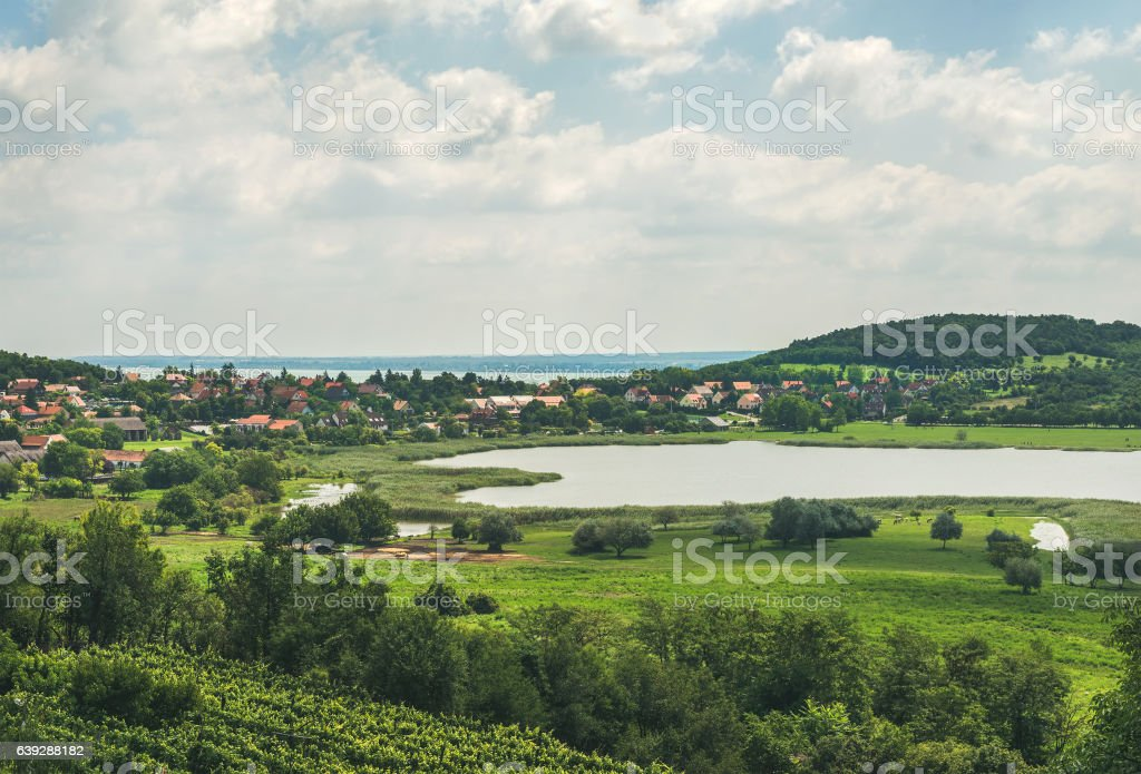 View over wineyards and Tihany village, Lake Balaton, Hungary stock photo