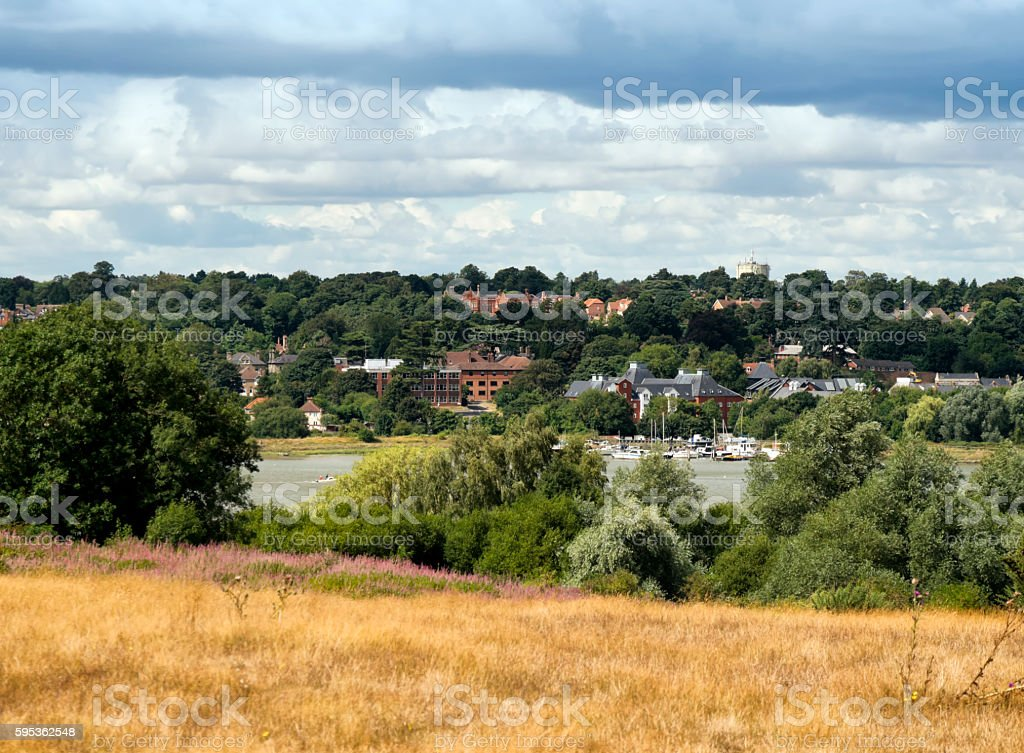 View over Woodbridge and the River Deben stock photo
