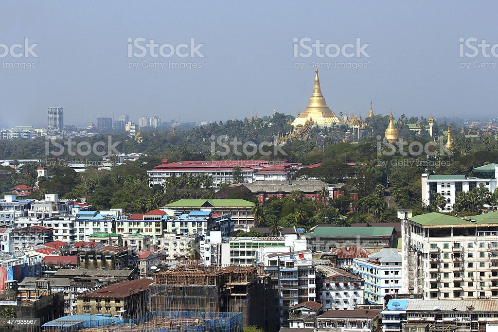View over Yangon city and Shwedagon Pagoda , Myanmar. stock photo