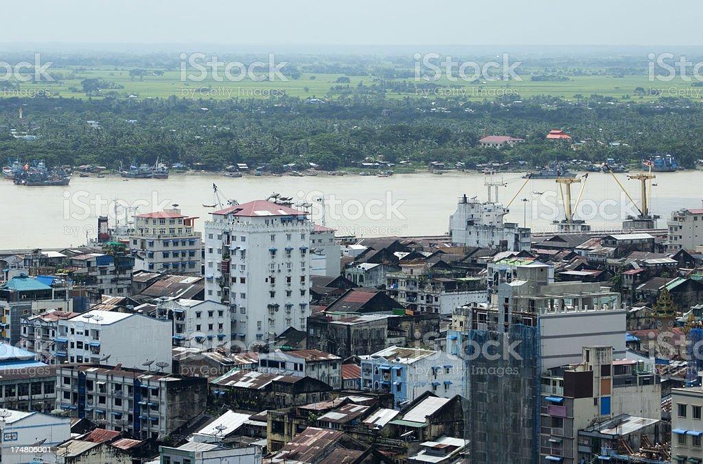View over Yangon city and the Ayeyarwady river (Myanmar) royalty-free stock photo