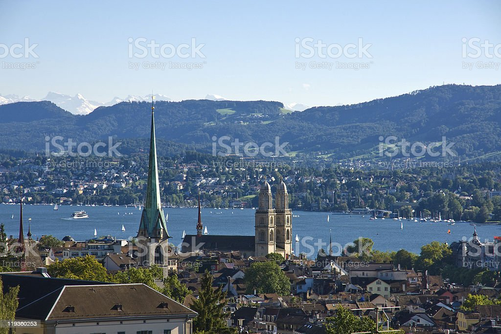 View over Zurich with the alps stock photo