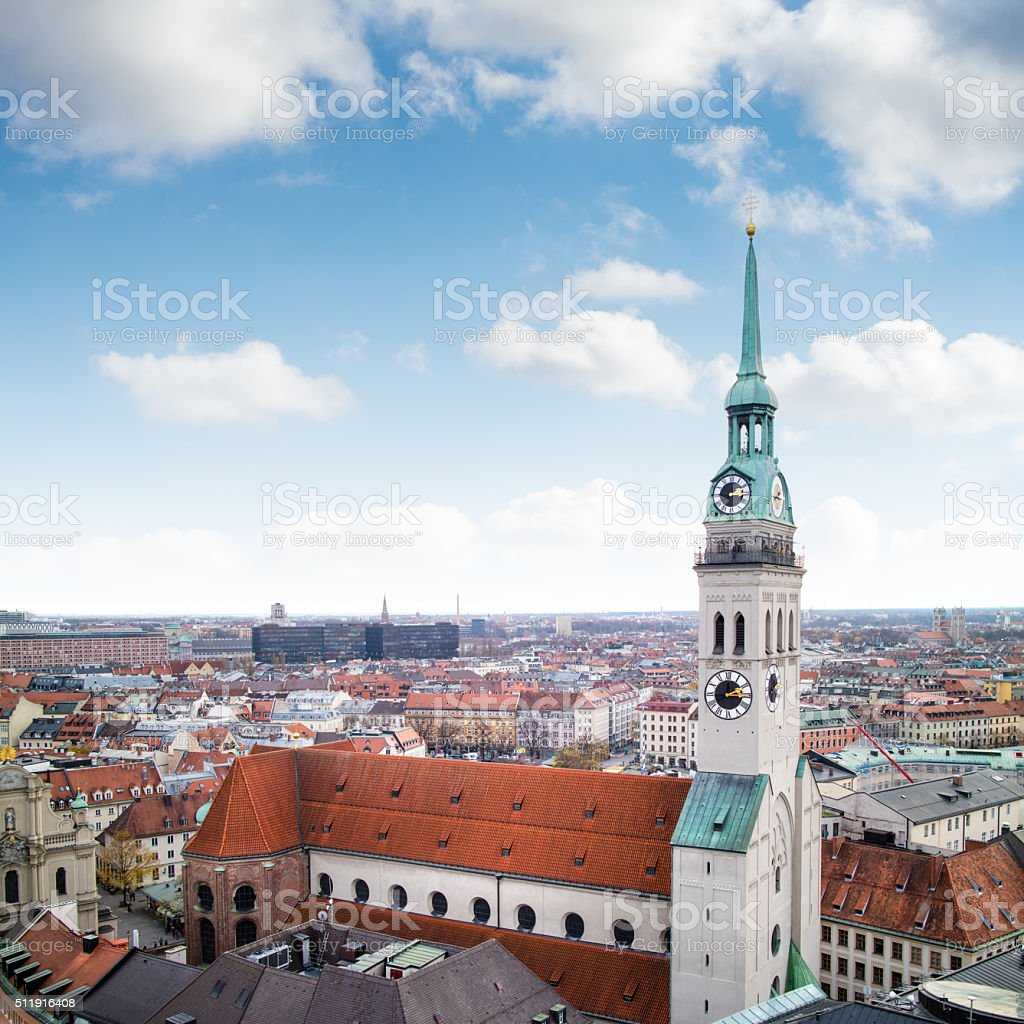 View overlooking the town of Munich with St. Peter's Church stock photo