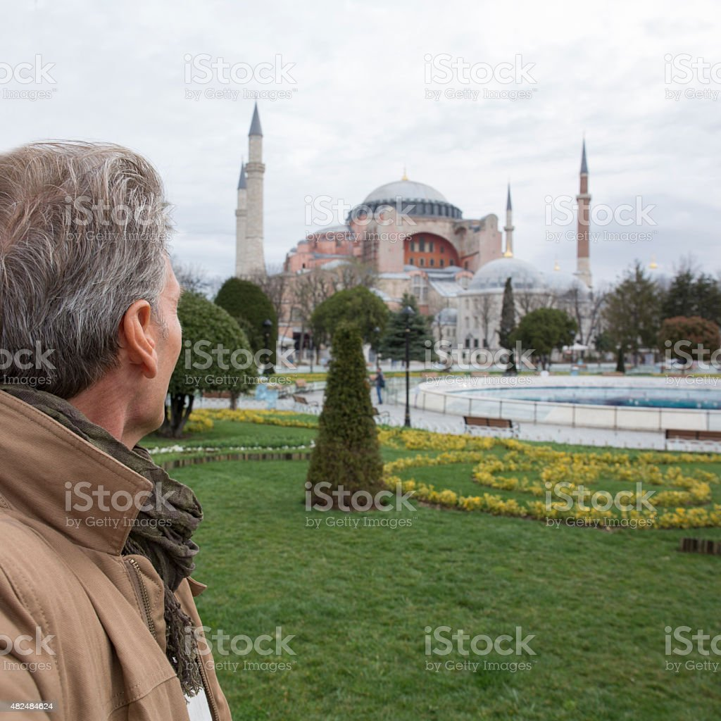 View past man to the Hagia Sophia in Istanbul, Turkey stock photo