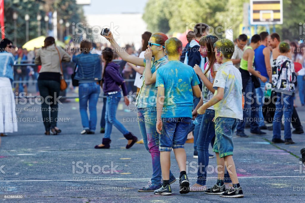 Ulyanovsk, Russia - JUNE 12, 2015: View people taking part in the Holi festival - ColorFest festival of paints. Holi is traditional holiday of India. stock photo