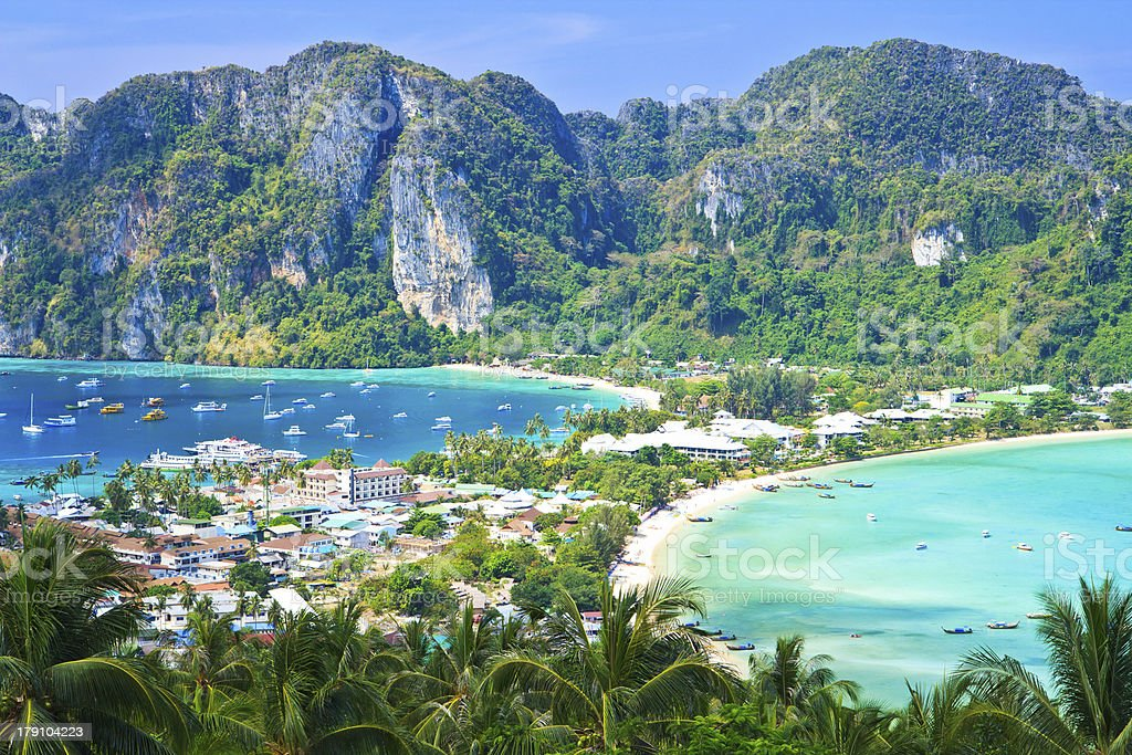 View point at Phi-Phi island and tourist resort below royalty-free stock photo