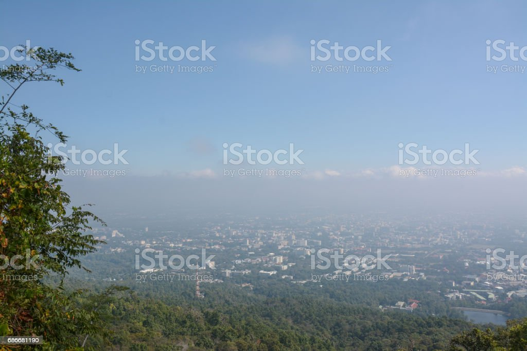 View point city of chiangmai in Wat Phra That Doi Suthep Temple ,Chiang Mai,Thailand. stock photo