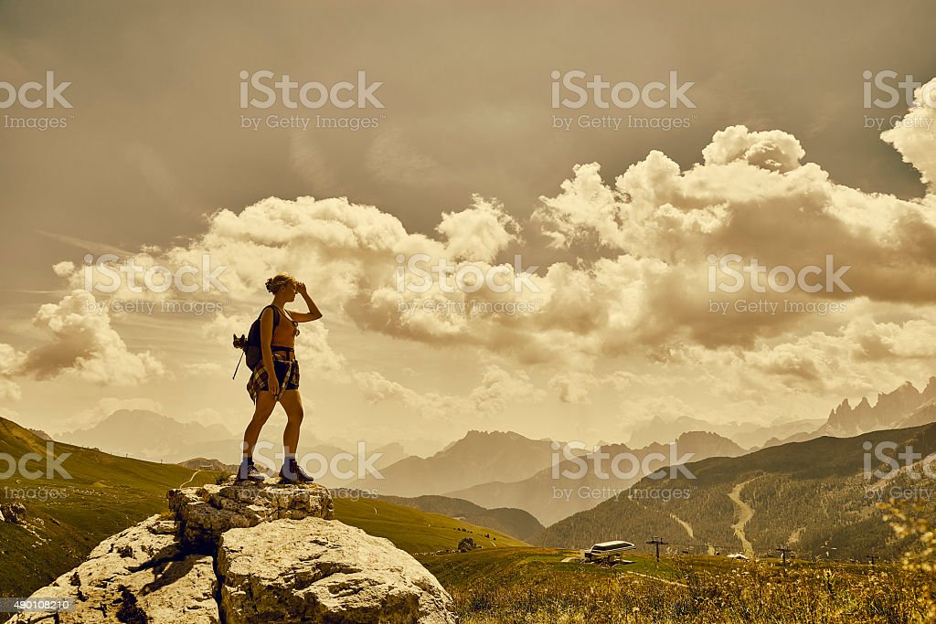 View point in the Dolomites in Italy stock photo