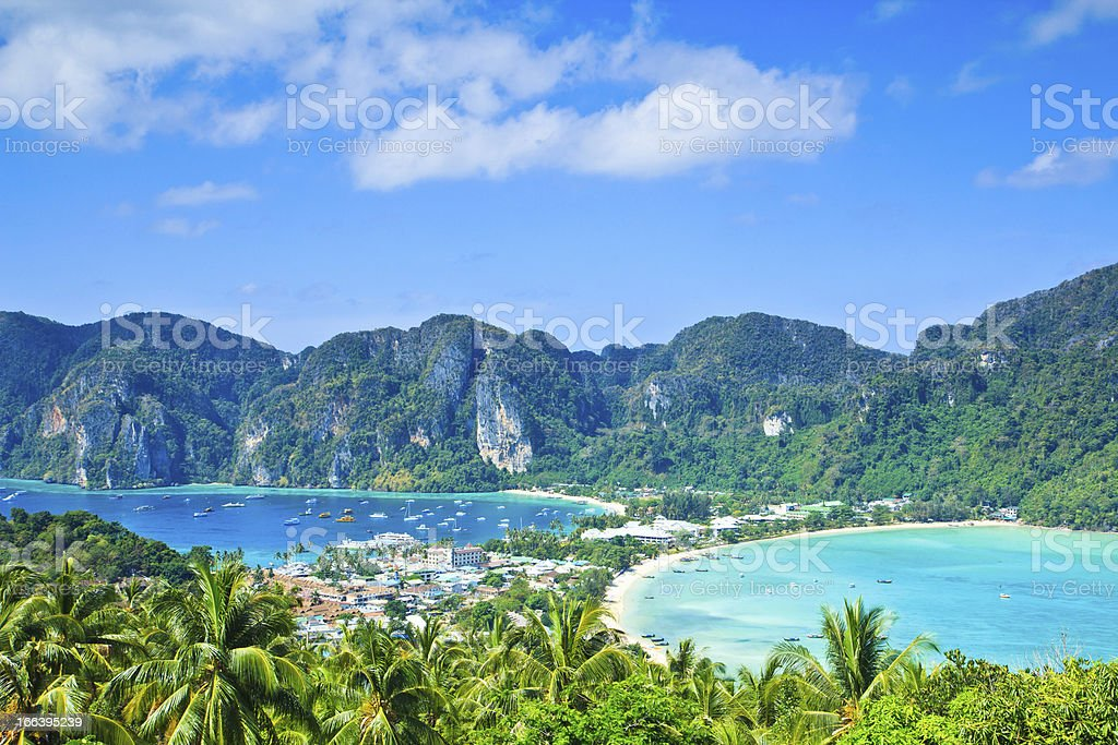 view point Ko Phi-Phi island in Thailand stock photo