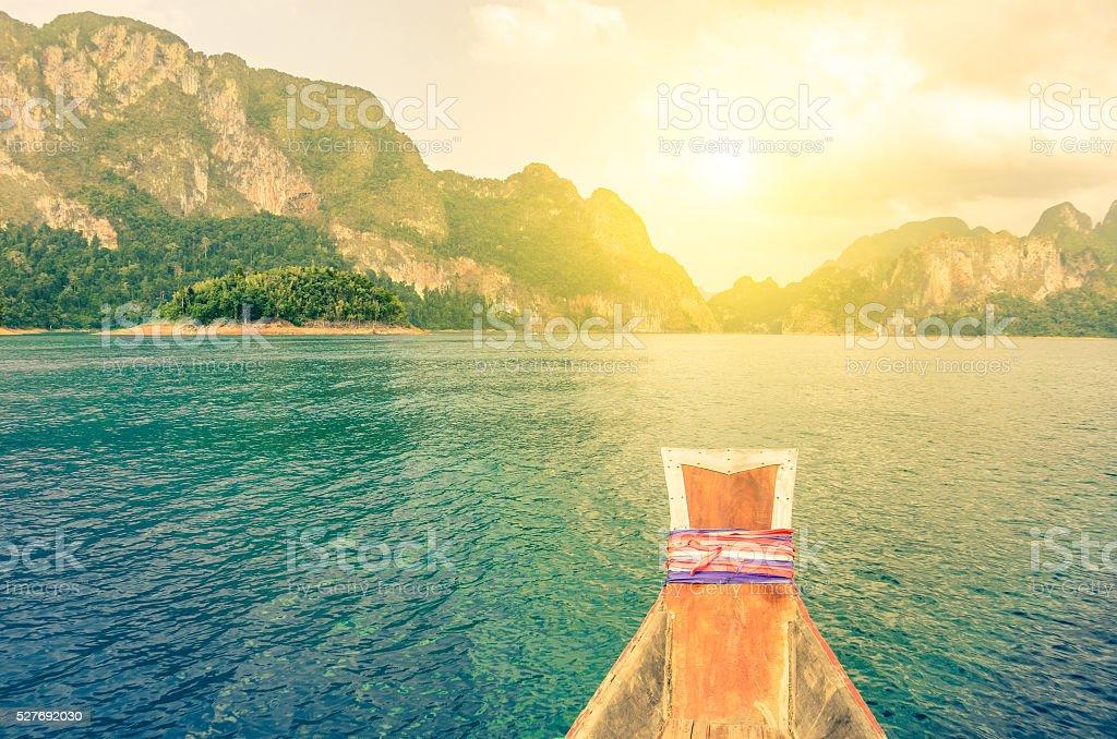 View point of Cheow Lan lake in Khao Sok Thailand stock photo