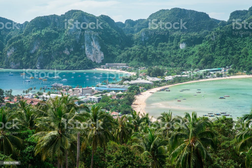 View point of Phi-Phi Island at sunset time, Krabi, Thailand stock photo