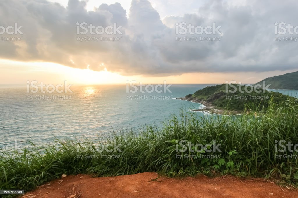 View point of Phomthep or Promthep cave Phuket, Thailand. stock photo