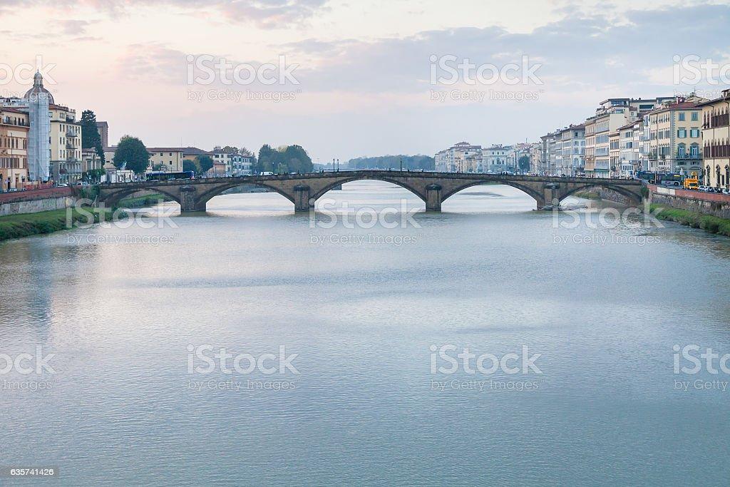 view ponte alla carraia on Arno River in twilight stock photo