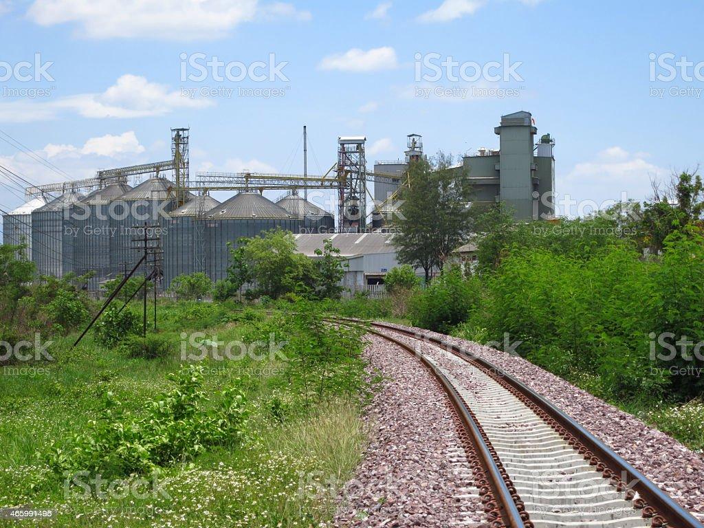 view railroad to silo,Thailand stock photo