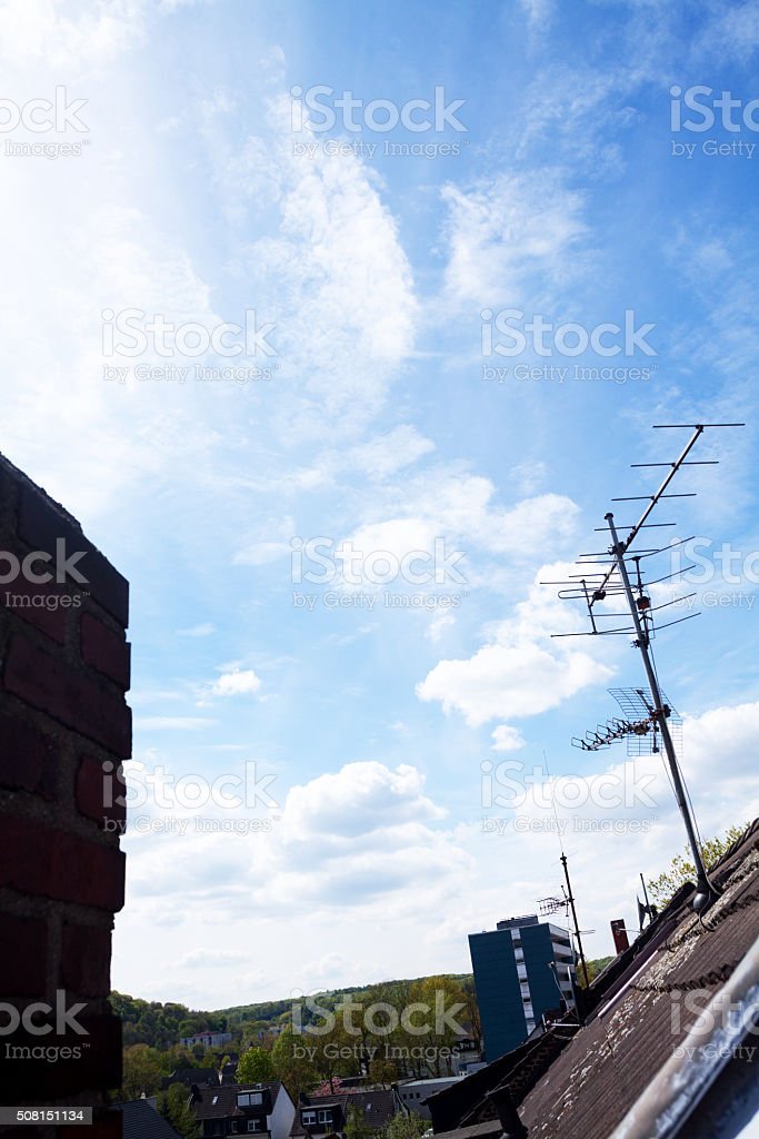 View roofs into valley Ruhr stock photo