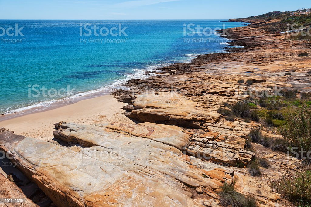 View seascape near Luz, Algarve, Portugal stock photo