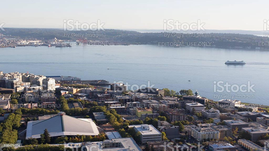 View Seattle Waterfront Key Arena, Elliot Bay, Washington State Ferry stock photo