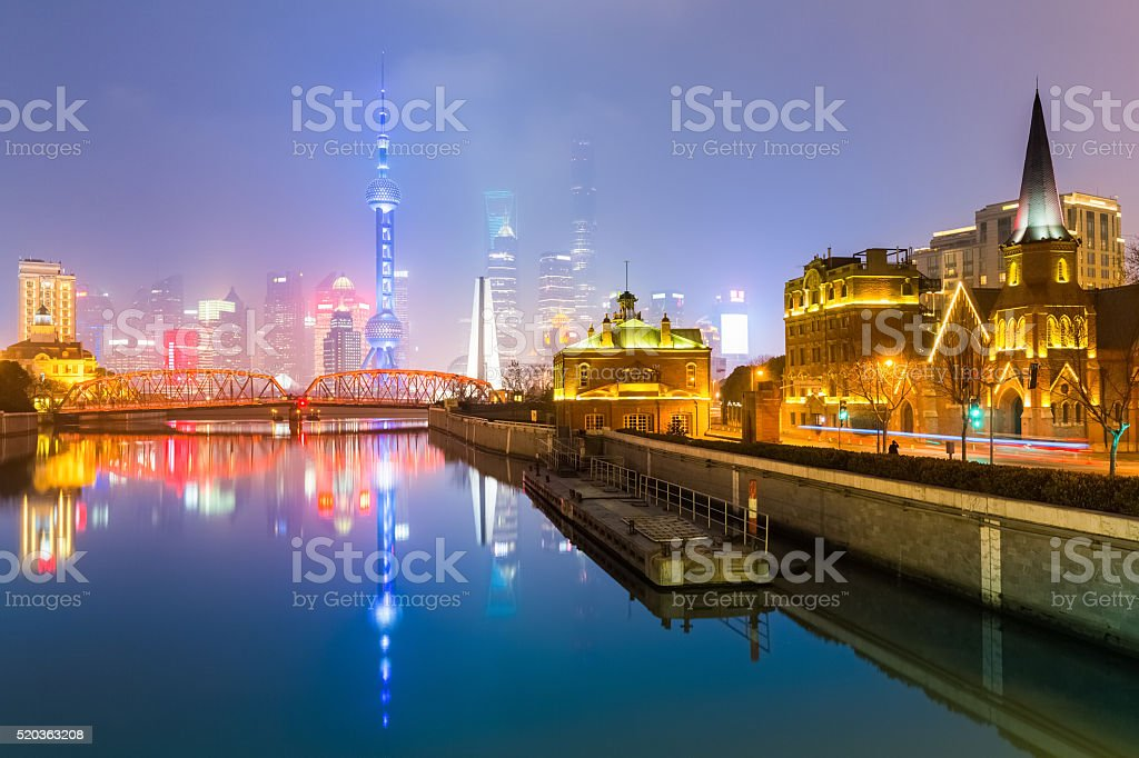 view shanghai skyline from suzhou river stock photo